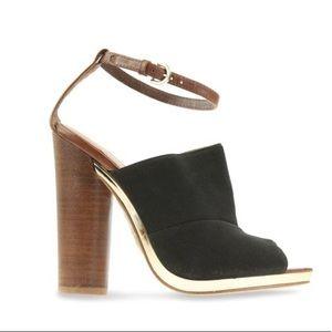 Rebecca Minkoff Leather Black Gold Open Toe Heels